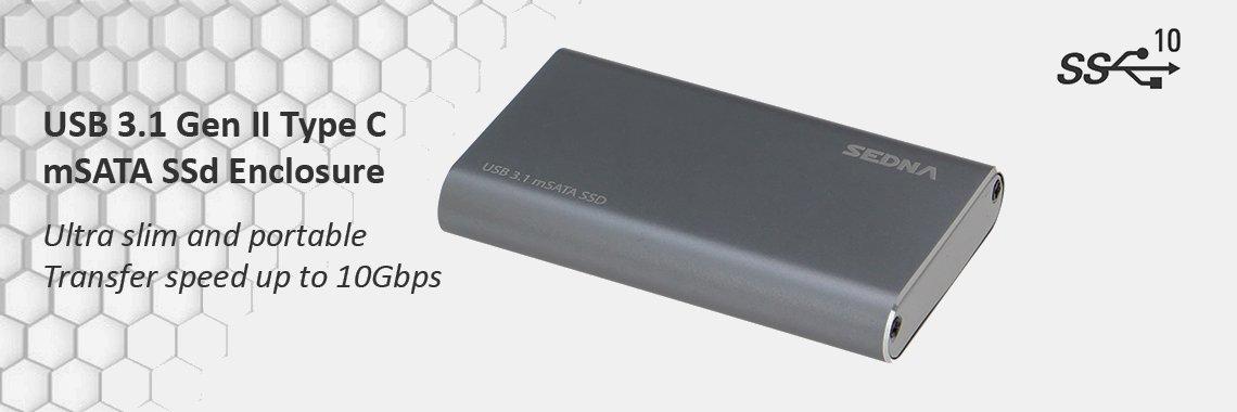 USB 3.1 Gen II mSATA SSD Enclosure