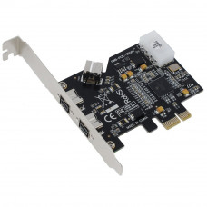 SEDNA - PCI-Express IEEE 1394b FireWire 3 Port Controller Card (2 External + 1 Internal)