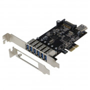 SEDNA - PCIE 7 Port USB 3.1 Gen I (5Gbps) Adapter Card (6 External and 1 Internal Ports) with Low Profile Bracket