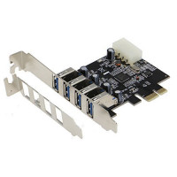 SEDNA - PCI Express 4 Port ( 4E ) USB 3.0 Adapter - With Low Profile Bracket - (NEC / Renesas uPD720201 chipset)
