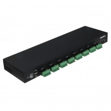 SEDNA - USB to 8 Port Serial Hub (RS485 ) with 2 USB 2.0 Port - Com Port Retention - 1U 19 Inch Rack Mount
